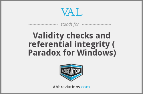 VAL - Validity checks and referential integrity ( Paradox for Windows)