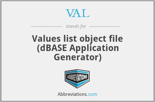 VAL - Values list object file (dBASE Application Generator)