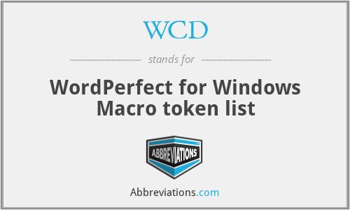 WCD - WordPerfect for Windows Macro token list