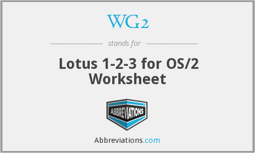 WG2 - Lotus 1-2-3 for OS/2 Worksheet