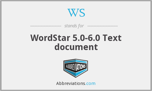 WS - WordStar 5.0-6.0 Text document