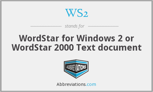 WS2 - WordStar for Windows 2 or WordStar 2000 Text document