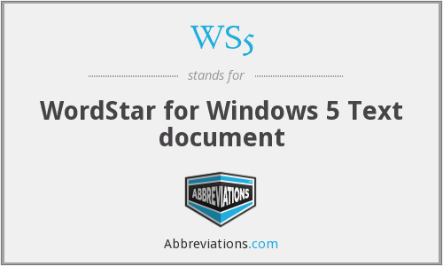 WS5 - WordStar for Windows 5 Text document