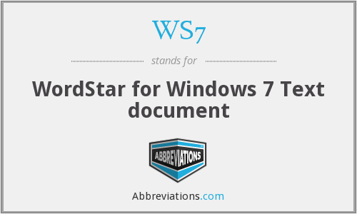 WS7 - WordStar for Windows 7 Text document