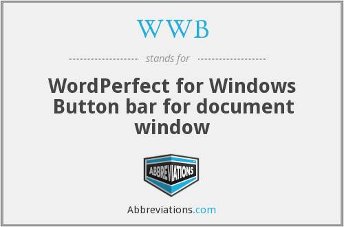WWB - WordPerfect for Windows Button bar for document window