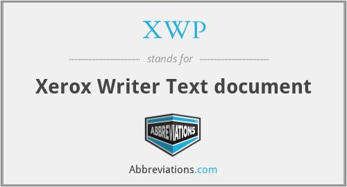 XWP - Xerox Writer Text document