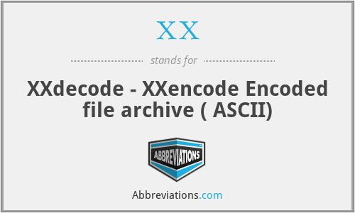 XX - XXdecode - XXencode Encoded file archive ( ASCII)