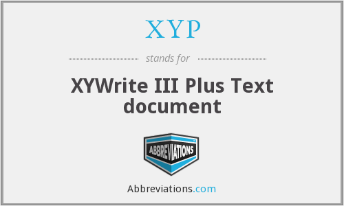 XYP - XYWrite III Plus Text document