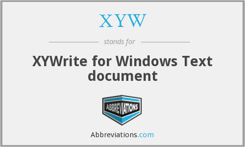 XYW - XYWrite for Windows Text document