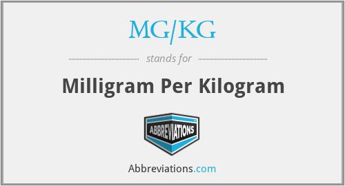 MG/KG - Milligram Per Kilogram