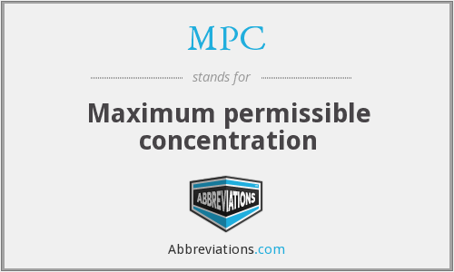 MPC - Maximum permissible concentration
