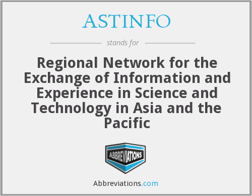 ASTINFO - Regional Network for the Exchange of Information and Experience in Science and Technology in Asia and the Pacific