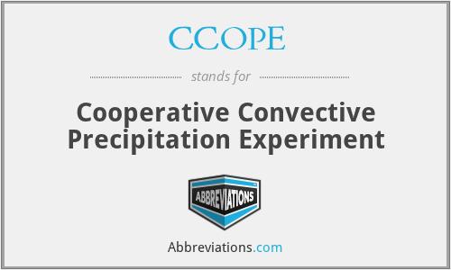 CCOPE - Cooperative Convective Precipitation Experiment