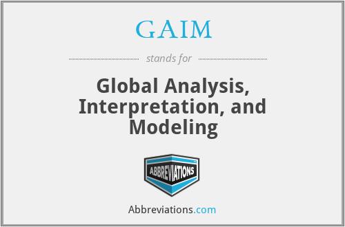 GAIM - Global Analysis, Interpretation, and Modeling