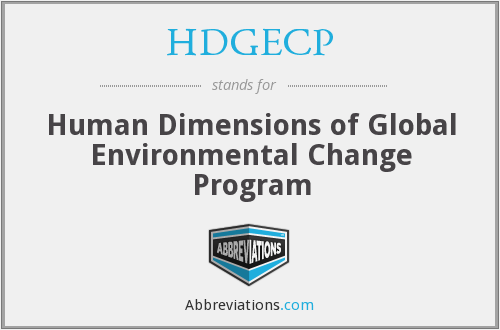 HDGECP - Human Dimensions of Global Environmental Change Program