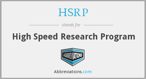 HSRP - High Speed Research Program