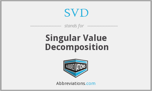 SVD - Singular Value Decomposition