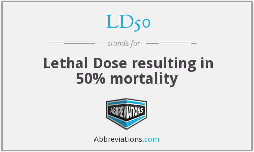 LD50 - Lethal Dose resulting in 50% mortality