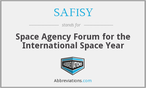 SAFISY - Space Agency Forum for the International Space Year