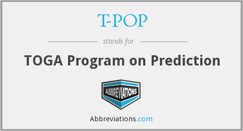 T-POP - TOGA Program on Prediction