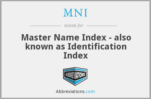 MNI - Master Name Index - also known as Identification Index