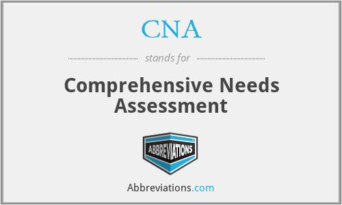 CNA - Comprehensive Needs Assessment