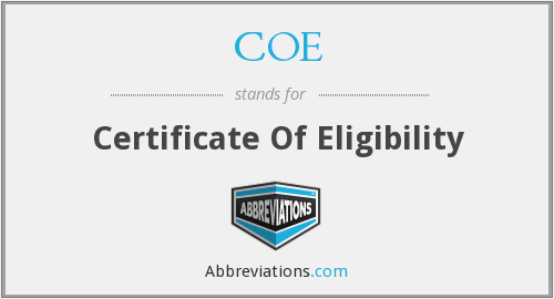 COE - Certificate Of Eligibility