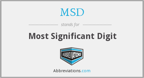 What does MSD stand for?