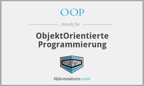 OOP - ObjektOrientierte Programmierung