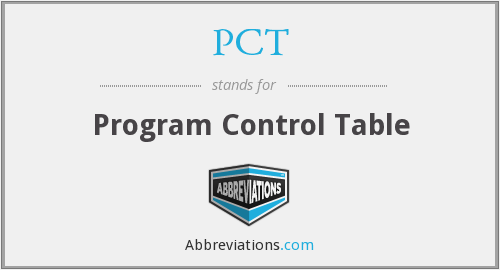 PCT - Program Control Table