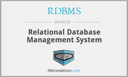 RDBMS - Relational Database Management System
