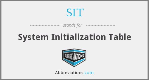 SIT - System Initialization Table
