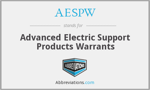 AESPW - Advanced Electric Support Products Warrants