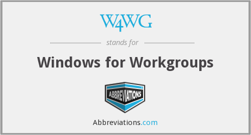 W4WG - Windows for Workgroups
