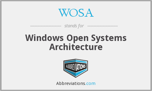 WOSA - Windows Open Systems Architecture