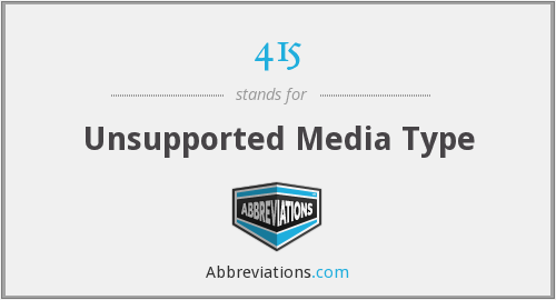 415 - Unsupported Media Type
