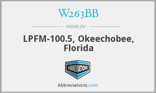 W263BB - LPFM-100.5, Okeechobee, Florida