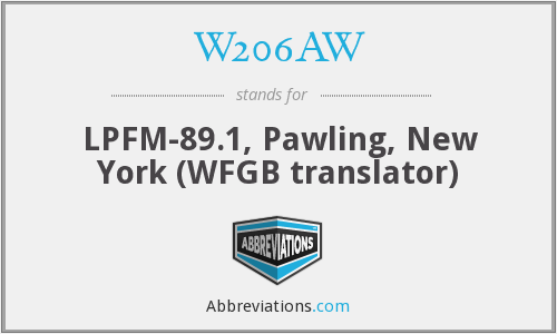 W206AW - LPFM-89.1, Pawling, New York (WFGB translator)