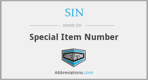 SIN - Special Item Number