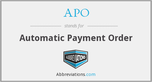 APO - Automatic Payment Order
