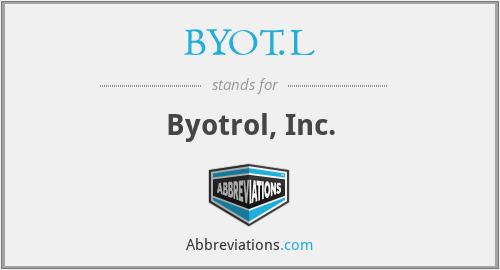 BYOT.L - Byotrol, Inc.