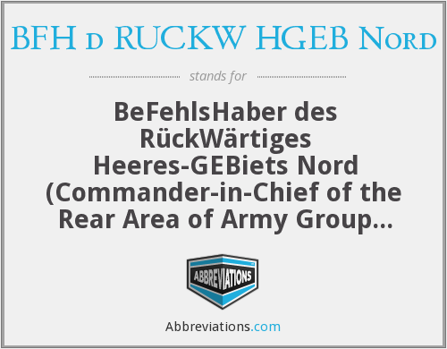 BFH d RUCKW HGEB Nord - BeFehlsHaber des RückWärtiges Heeres-GEBiets Nord (Commander-in-Chief of the Rear Area of Army Group North