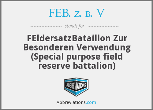What does FEB. Z. B. V stand for?