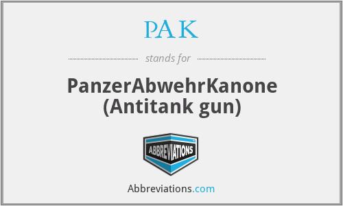 PAK - PanzerAbwehrKanone (Antitank gun)