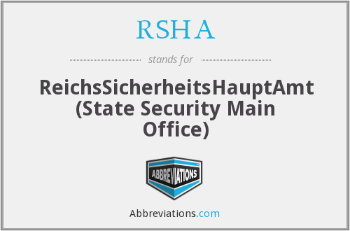 What does RSHA stand for?