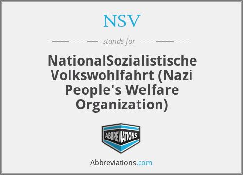 NSV - NationalSozialistische Volkswohlfahrt (Nazi People's Welfare Organization)