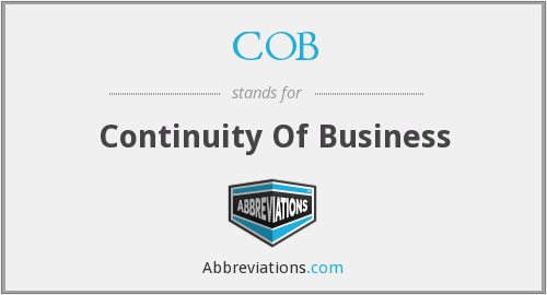 COB - Continuity Of Business