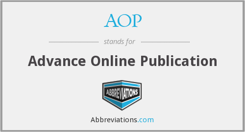 AOP - Advance Online Publication