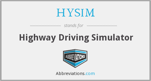HYSIM - Highway Driving Simulator