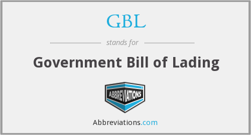 GBL - Government Bill of Lading